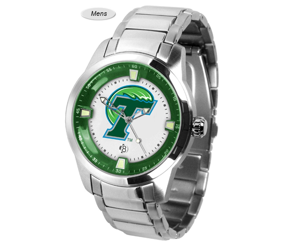 Home college tulane green wave tulane green wave silver plated - Tulane Green Wave Titan Steel Watch