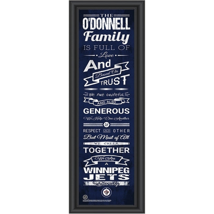 Winnipeg Jets NHL Personalized Family Cheer Print