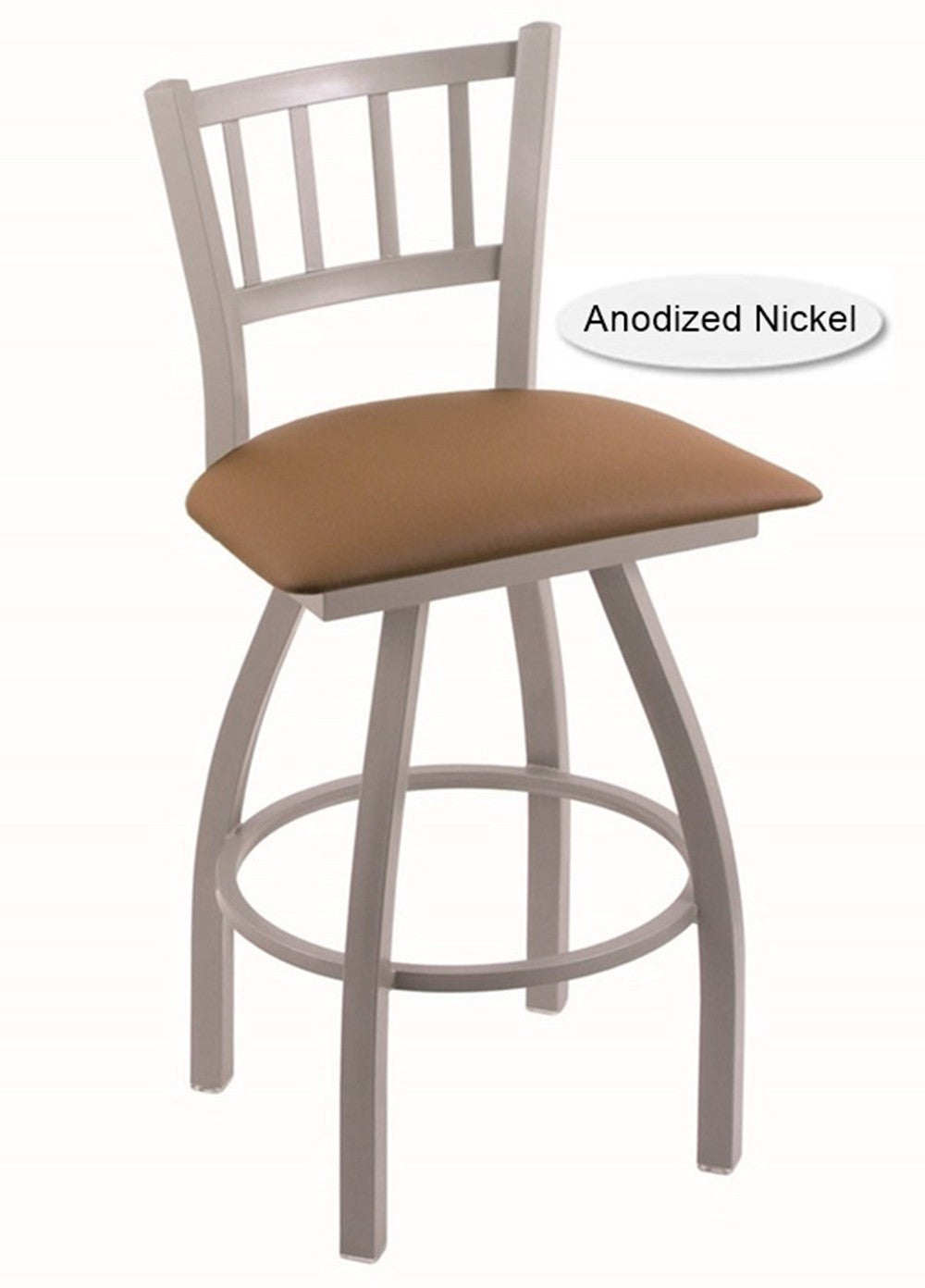 Big and Tall XL Anondized Nickel Contessa Swivel Bar Stool