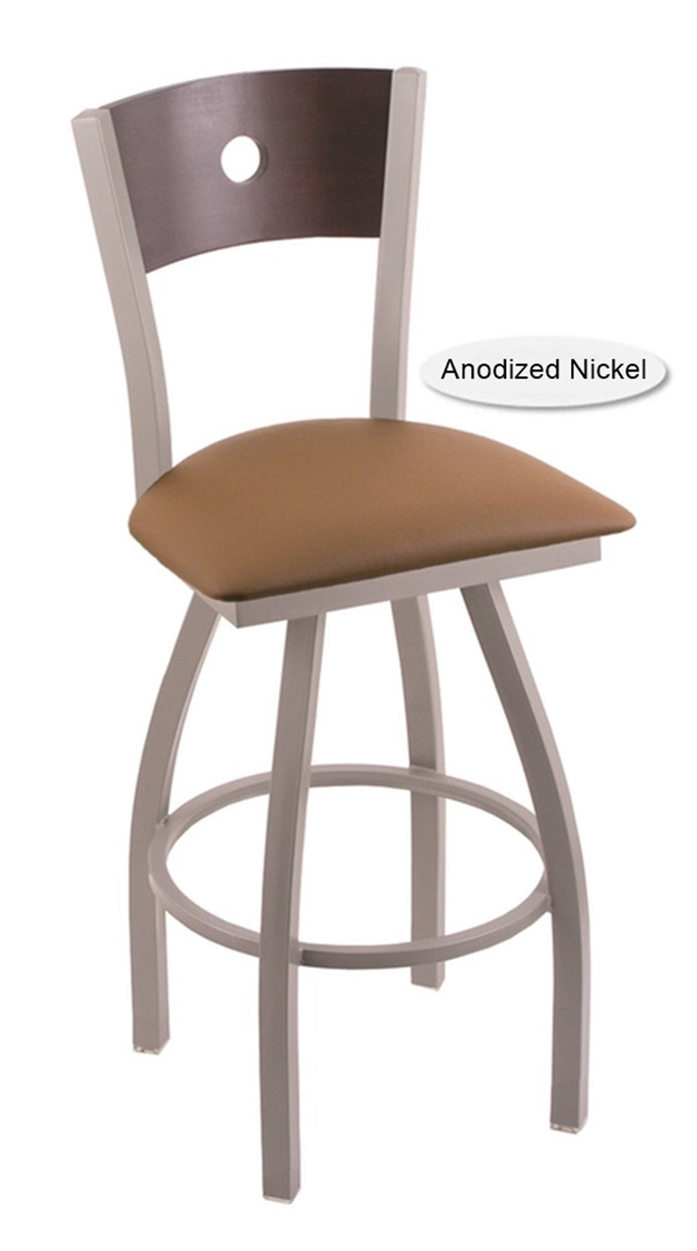 Big and Tall XL Anodized Nickel Voltaire Swivel Bar Stool