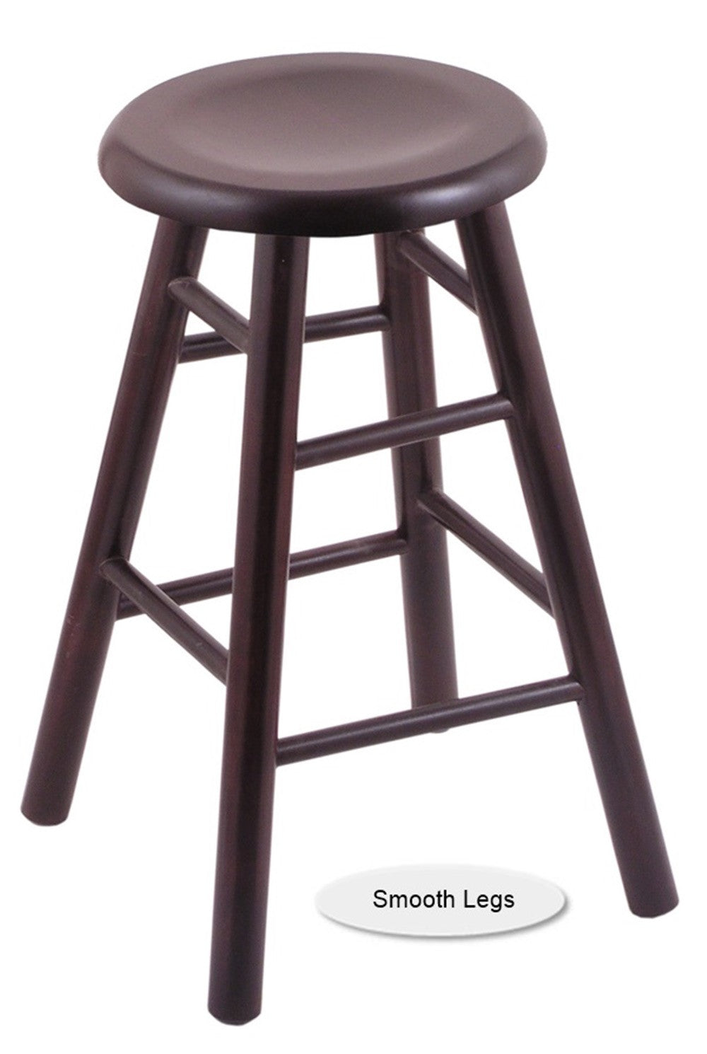 Big and Tall XL Wood Saddle Dish Swivel Bar Stool - Smooth Legs