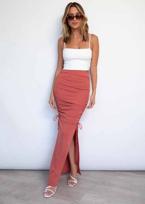 Outlaw Ruched Maxi Skirt - Rose