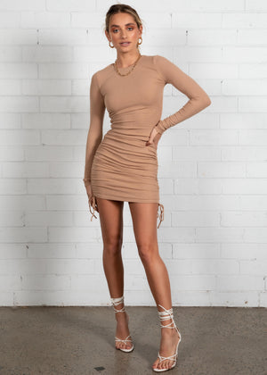 Kaylyn Ruched Mini Dress - Camel