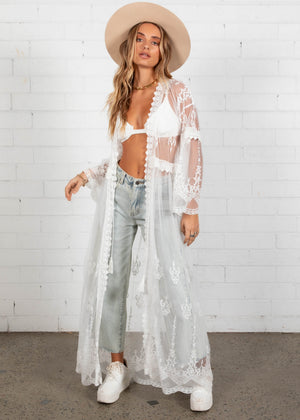 Sunset Lace Cape - White