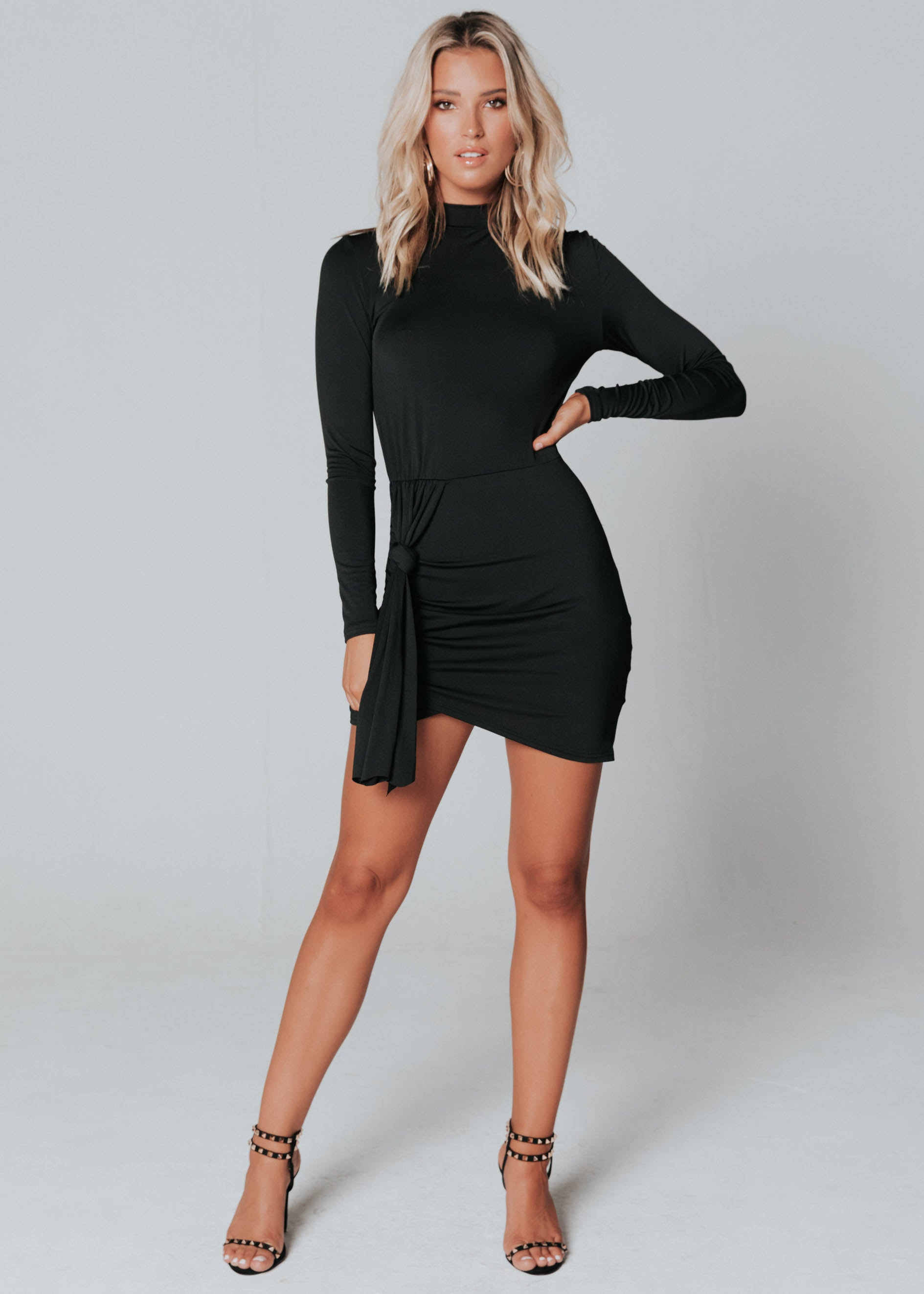 Tongue Tied Mini Dress - Black