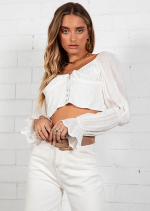 Belle Cropped Blouse - White