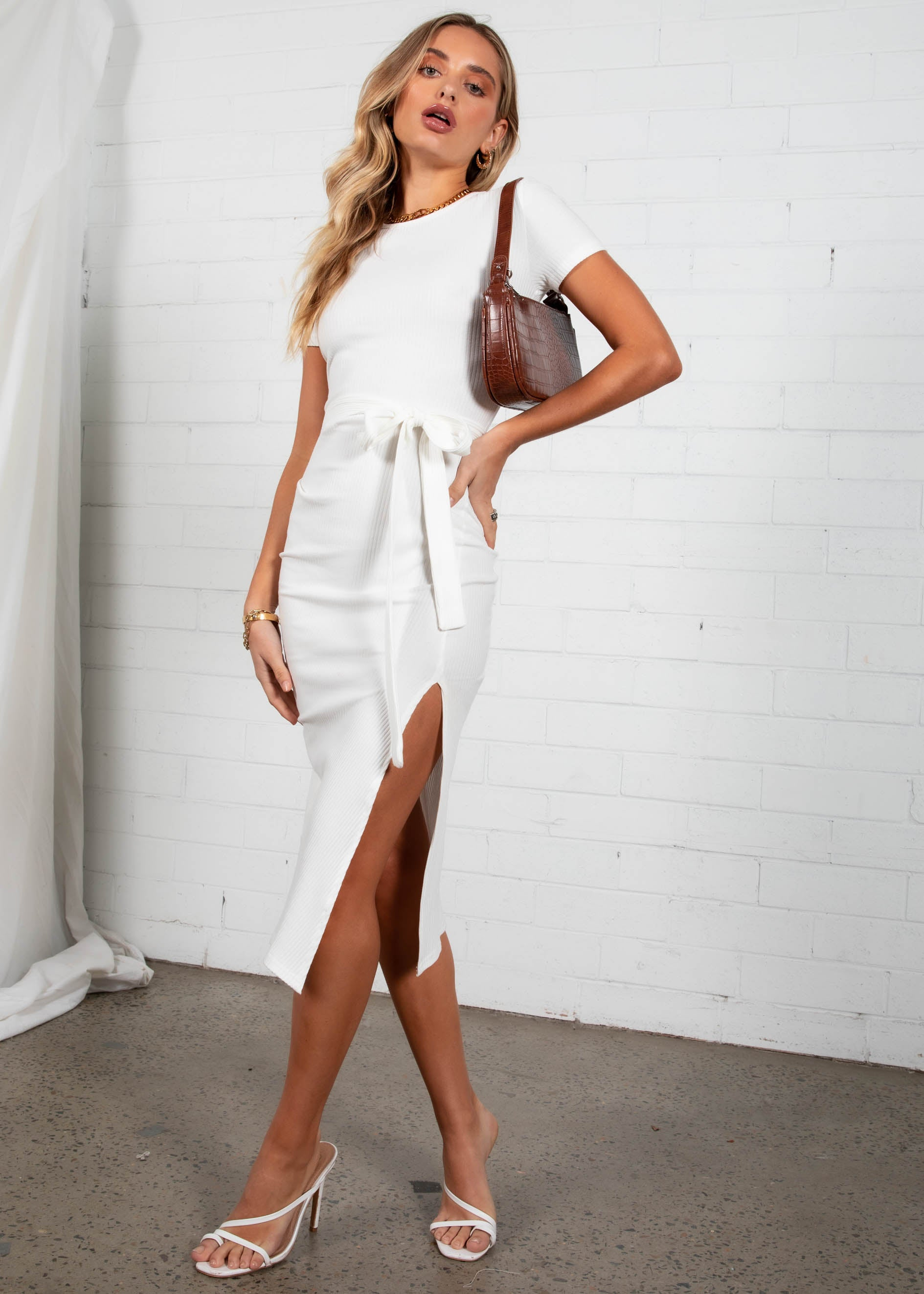 Jiavanti Midi Dress - White