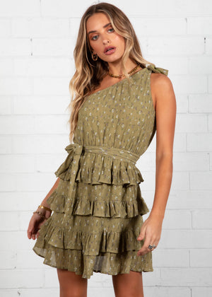 Ayla Mini Dress - Khaki Floral