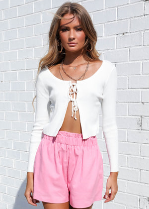 All Eyes Knit Crop - White