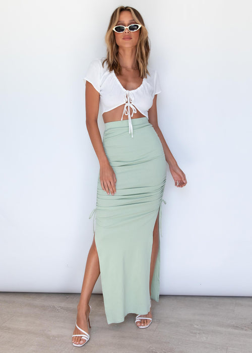 Outlaw Ruched Maxi Skirt - Sage
