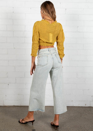 Cadence Cropped Blouse - Yellow