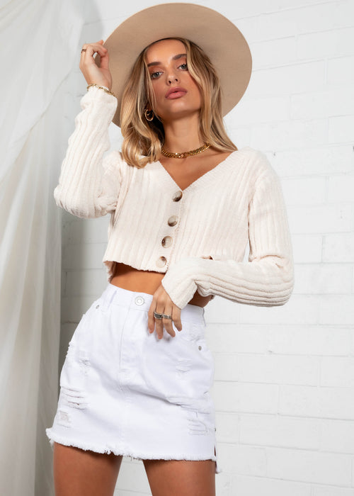 Brooklyn Cropped Sweater - Cream