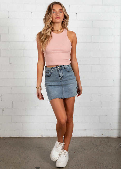Aria Mini Skirt - Denim
