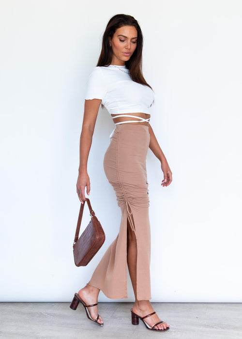 Outlaw Ruched Maxi Skirt - Tan