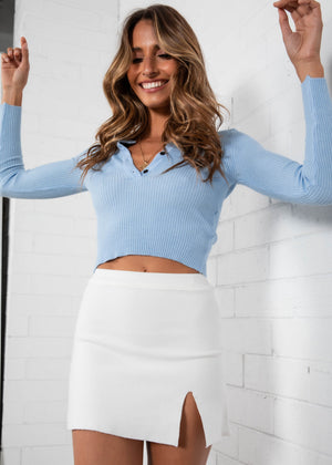 Mena Cropped Sweater - Blue