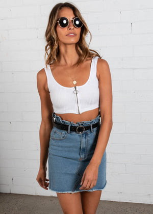 Indigo Knit Tank Crop - White