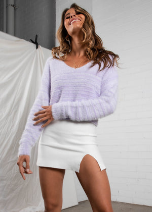 Kianna Cropped Sweater - Purple