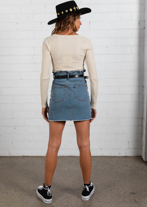 Dani Denim Skirt - Mid Blue