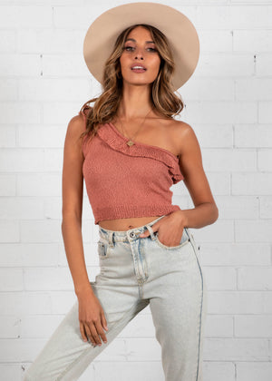 Nelly One Shoulder Crop - Rust