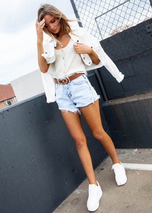 Weekend Cropped Denim Jacket - White