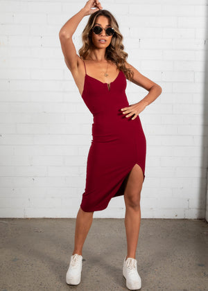 Gonna Be Midi Dress - Maroon