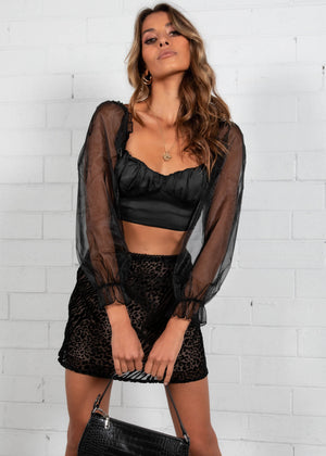 See Through You Cropped Blouse - Black