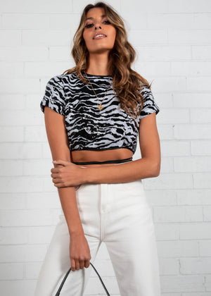 Tongue Tied Crop Top - Zebra Sequin