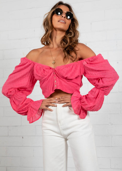 Belle Cropped Blouse - Pink