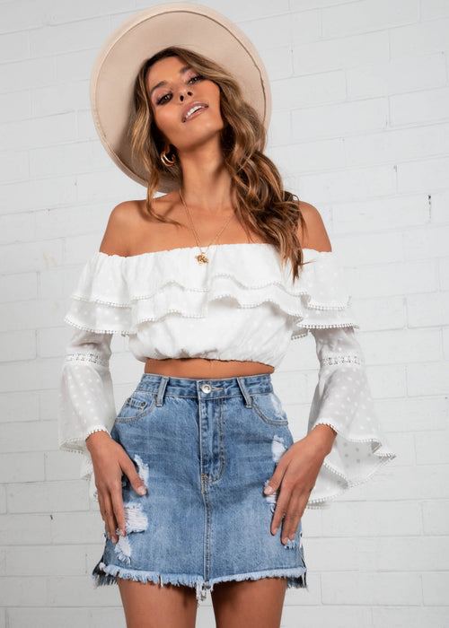 Selena Off the Shoulder Cropped Blouse - White