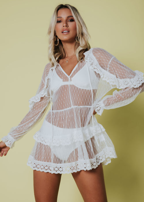 Beautiful Chaos Mini Dress - White Lace