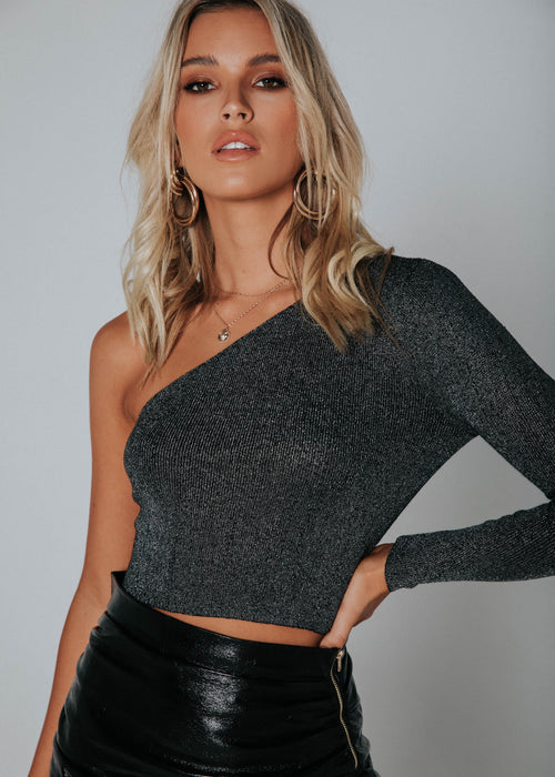 Astra One Shoulder Crop - Black Shimmer