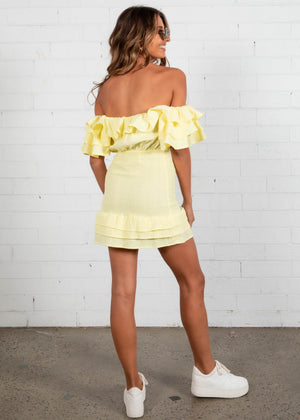 Shirr Me Mini Dress - Lemon