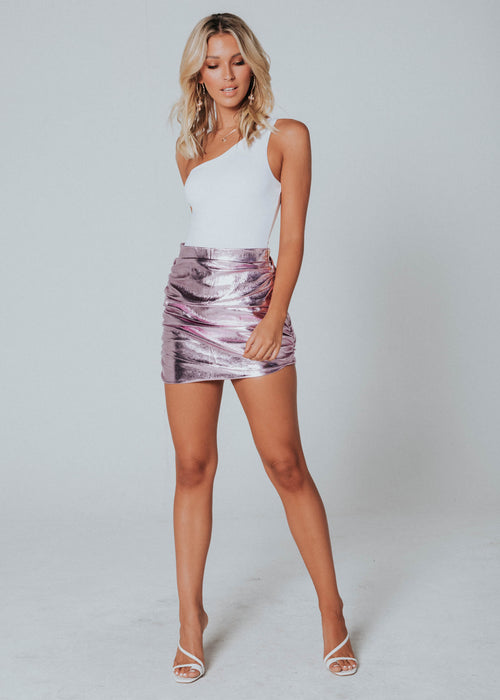 The Glow Up Mini Skirt - Pink