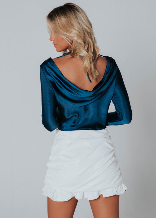 Andra Low Back Blouse - Metal Blue