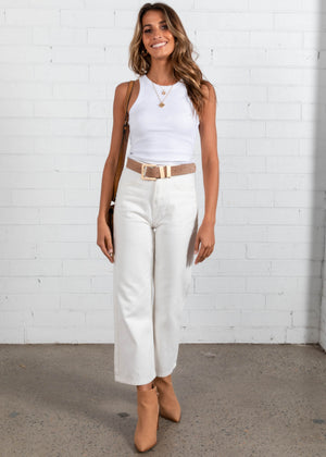 Polly Crop - White