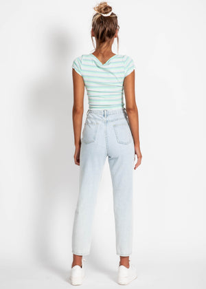 Next in Line Crop - Green Stripe