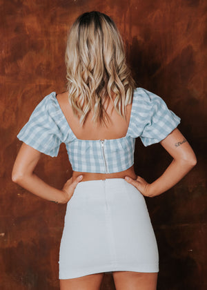 Uptown Crop - Blue Gingham