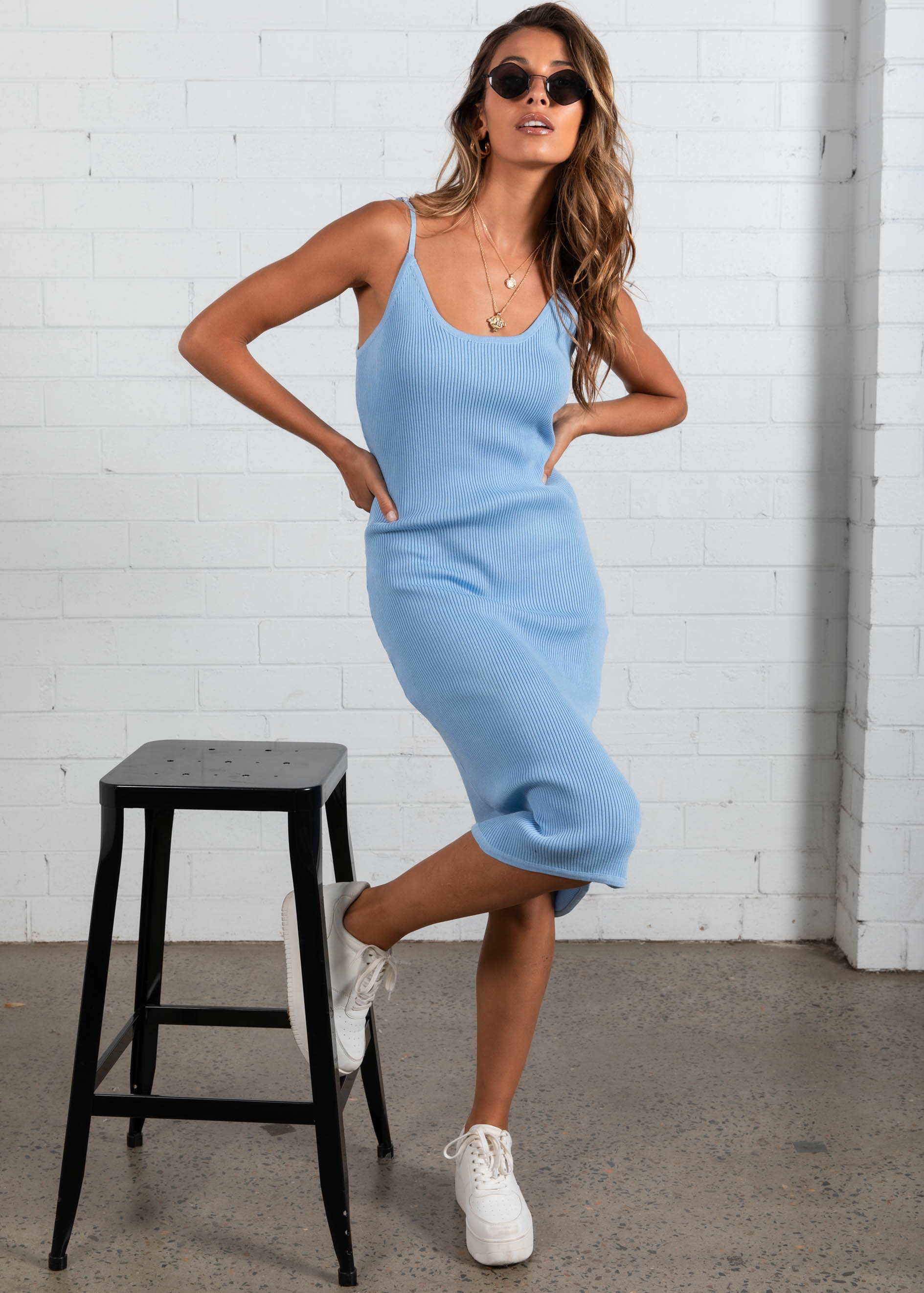 Alaska Knit Midi Dress - Sky Blue