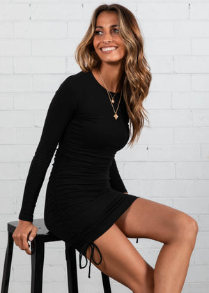 Kaylyn Ruched Mini Dress - Black