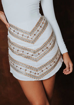 Samira Mini Skirt - White Aztec