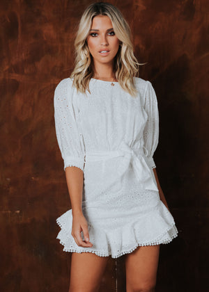 Sofia Mini Dress - White Anglaise