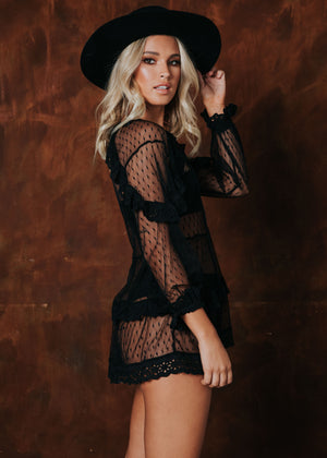 Beautiful Chaos Mini Dress - Black Lace