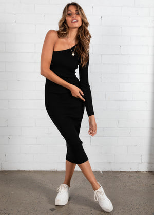 Lindsi Knit Midi Dress - Black