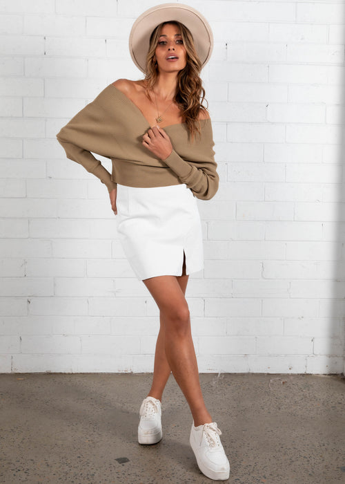 First Date Cropped Sweater - Khaki