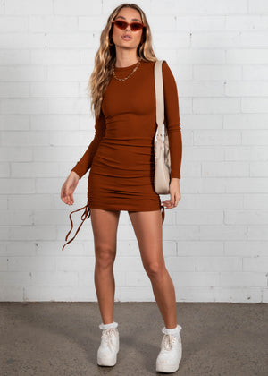 No Filters Mini Dress - Rust