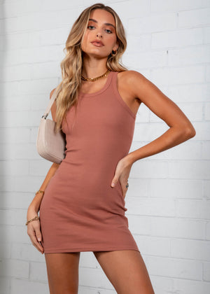 Polly Mini Dress - Tan
