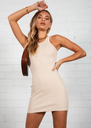 Polly Mini Dress - Beige