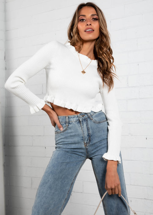 Just Kissed Cropped Sweater - White