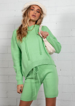 Emersyn Hooded Sweater  - Lime