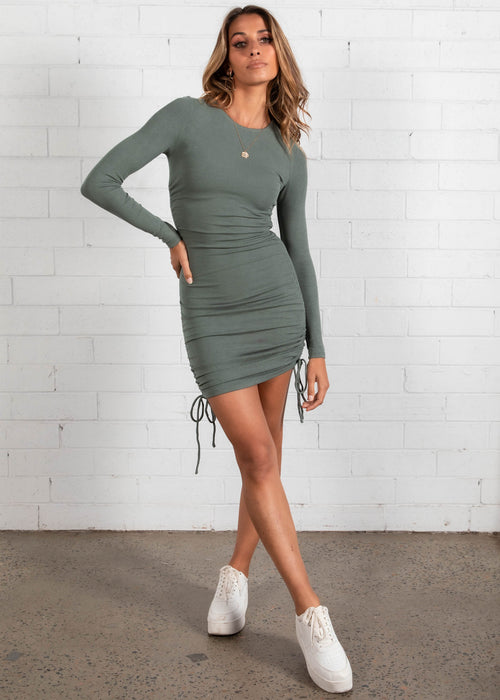Kaylyn Ruched Mini Dress - Khaki